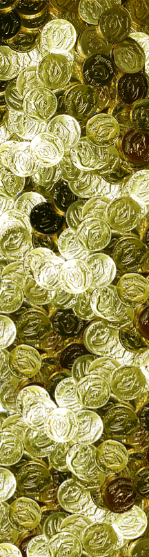 a shiny pile of gold chocolate coins